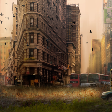 Matte Painting-Abandoned City